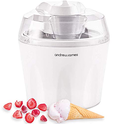 Andrew James Ice Cream Maker Machine | Makes Delicious Soft Ice Cream | Detachable Mixing Paddle | 1.5L | Frozen Yoghurt and Sorbet | Ingredients Funnel | Voted Best Buy by Which? Magazine
