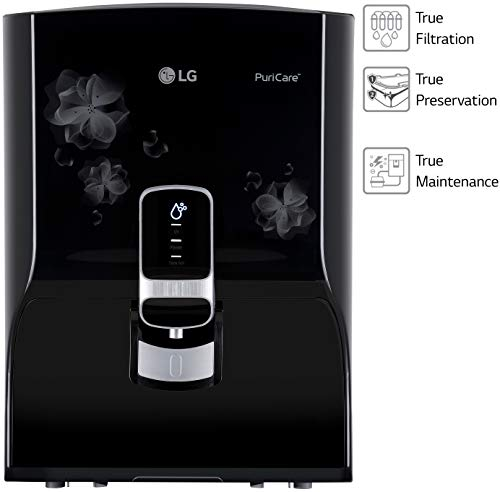 LG Puricare WW150NP RO + UV Water Purifier RO Multi-Stage Filtration with 8 LTR. Dual Protection Stainless Steel Tank (Black with Floral Pattern)