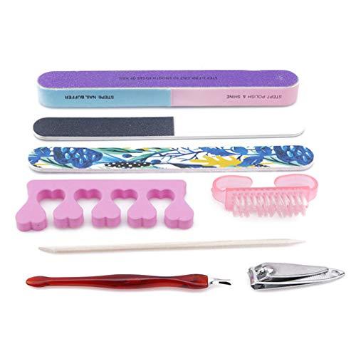 Kit de toilettage pour manucure - 8 pièces - Kit de toilettage - Pour nail art - Limes de ponçage - Bloc de polissage - Outils de manucure et pédicure
