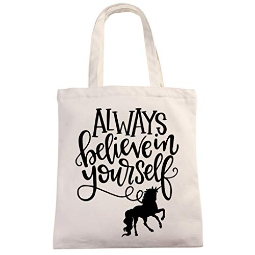 Inspirational Unicorn Natural Cotton Canvas 12 Oz Reusable Tote Bag | Always Believe in Yourself Tote for Kids | School Reading Bag for Student Son Daughter