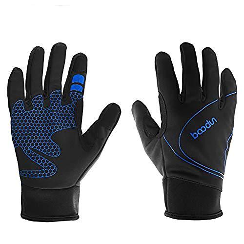 ARTOP Guantes Ciclismo Térmico Guantes MTB Impermeable de Bicicleta Bici con Dedos Completos Pantalla Táctil para Hombre Otoño Invierno(Azul,XL)