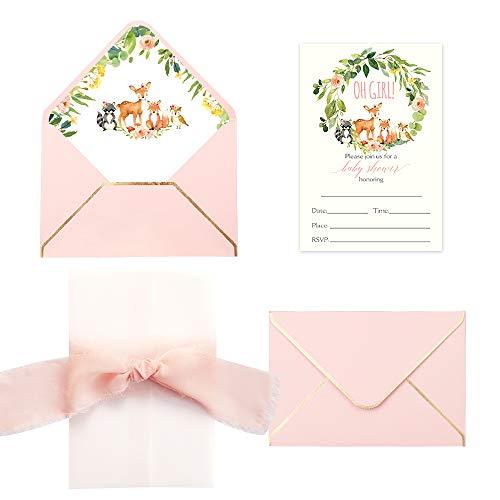 Doris Home CW0020 Einladungskarten mit Umschlägen und bedruckten Innenblättern für Babyparty, 250 g/m², 13 x 18 cm, 25 Stück