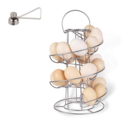 Metal Egg Skelter with Egg Cracker Topper, Spiral Design Deluxe Egg Skelter Dispenser Rack, Storage Display Rack, for Countertop Kitchen, Upgrade Enlarged Base, Silver