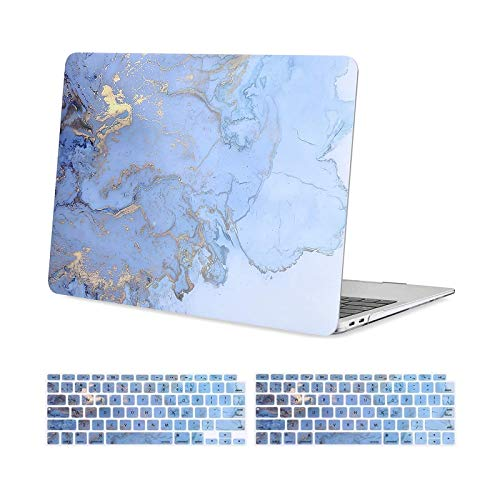 MOSISO MacBook Air 13 inch Case 2020 2019 2018 Release A2337 M1/A2179/A1932, Plastic Hard Shell, Keyboard Cover Compatible with MacBook Air 13 inch with Retina Display&Touch ID, Blue Watercolor Marble