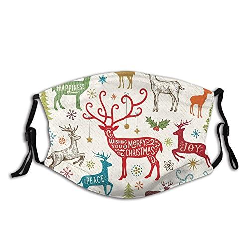 Regalo de Navidad Máscara de Navidad Reno Reutilizable Lavable Hombres Mujeres Tela Polvo Cubierta de la Cara Otoño Otoño Otoño Otoño Otoño Otoño O