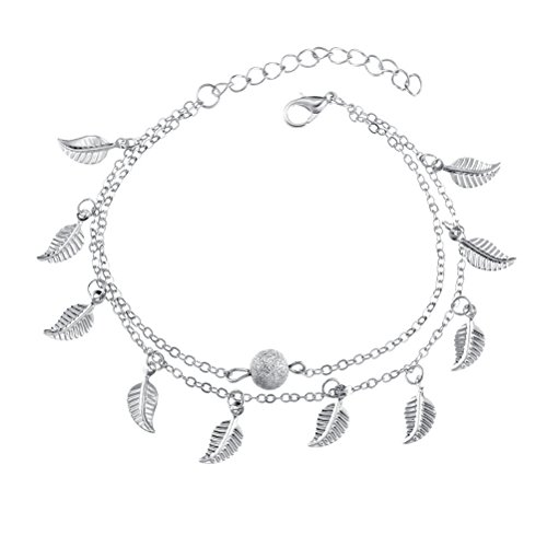 BESTOYARD Fuß Blatt Quaste-Stil Strand Casual Double-Layer-String-Armband (Silber)