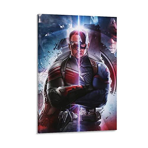 NUOMANAN Exquisita pintura al óleo mural Capitán América Superhéroe película 50 x 75 cm, decoración del hogar, decoración perfecta para el dormitorio sin marco/enmarcable.