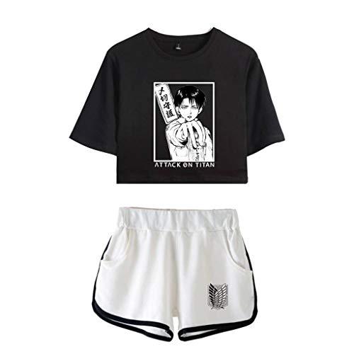 KIACIYA Attack On Titan Camiseta y Pantalones Cortos,Attack On Titan Anime Camiseta,Levi Ackerman,Shingeki no Kyojin Camiseta de Manga Corta Tops Conjuntos Deportivos de Dos Piezas para Mujer (C1,XL)
