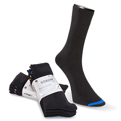 SOXON 8er Pack Business Socken I Herrensocken I Socken Herren I Strümpfe für Herren aus Seidenstraßen Baumwolle mit Sortierhilfe (43/46, Schwarz)