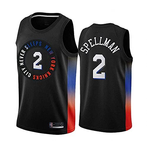Jerseys de baloncesto para hombres, New York Knicks # 2 Omari Spellman NBA Uniformes de baloncesto Sin mangas Camisetas Vestidos Tops transpirables y de secado rápido, Negro, L (175 ~ 180 cm) DOISLL