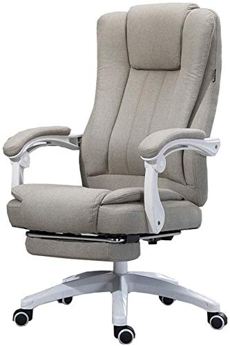 FGDSA Office Executive Swivel Chair With armrests and footrest High back task chair Adjustable angle recliner design Linen fabric Relax completely (Color : Khaki)