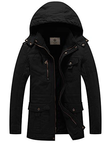 WenVen Herren Winter Outdoor Jacke Warme Fleece Futter Mantel Kapuze Winddichte Jacke Mittellange Lässige Outerwear Mäntel Schwarz L
