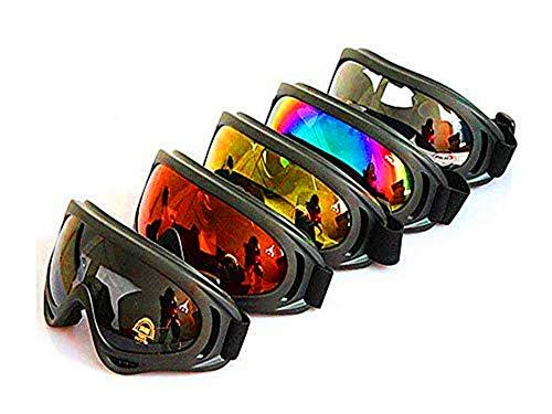 DPLUS 5パックオートバイゴーグル 眼鏡 防塵 防風 防雪 ゴーグル スノボゴーグル サングラス UV400 紫外線カット フレーム柔軟性 目が疲れにくい 登山/スキー/バイク/アウトドアスポーツに全面適用 ジュニアと大人向け 男女兼用