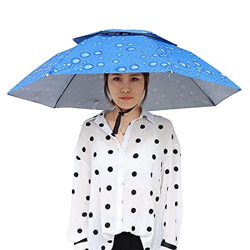 Meily かさ かぶる傘 頭 便利 庭 農作業 釣り 帽子型 日傘 レディース メンズ 日よけハット 雨よけ ハンズフリー ガーデニング 買い物 雪かき 梅雨 (直径95CM, l)