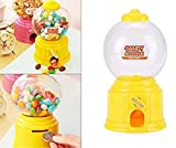 NIDY� 1Pc Mini Candy Gumball Jelly Beans Sugar Vending Machine Snack Dispenser Cute Sweets Mini Candy Machine Bubble Gumball Dispenser Coin Bank (Candy Gumball Not Included) (Yellow)
