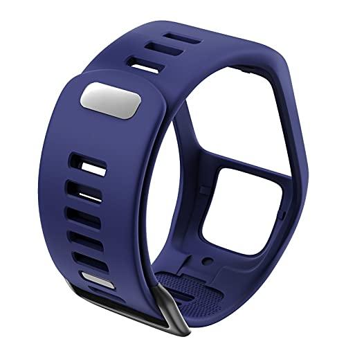 LLMXFC Correa de repuesto de silicona de calidad para reloj TomTom Runer 2/3/2 Cardio/Spark 3 Sport Watch para TomTom 2 3 Series (color de la correa: azul oscuro)