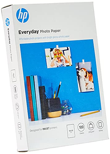 HP Carta Fotografica Lucida HP Everyday CR757A, Grammatura 200g/m2, Formato 10x15cm, Confezione da 100 Fogli