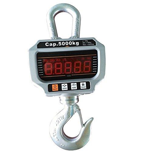 5000 kg Escala de grúa Electrónica Báscula Digital de Grúa con Gancho para Pesca Industrial con batería y mando a distancia