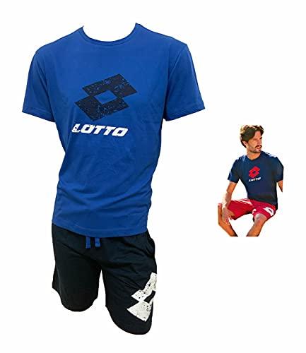 Lotto Completo Uomo Sportivo, T-Shirt + Pantaloncino, Completo Uomo Estivo in Cotone, Pigiama Uomo Corto Estivo, Homewear. (5085 Bluette, M)