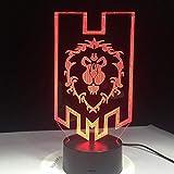 World Of Warcraft 3D Led Lampe Die Allianz Tribal Signs Fernbedienung Touch Control Nachtlicht Usb Dekorative Tischlampe Geschenk Eines Freundes
