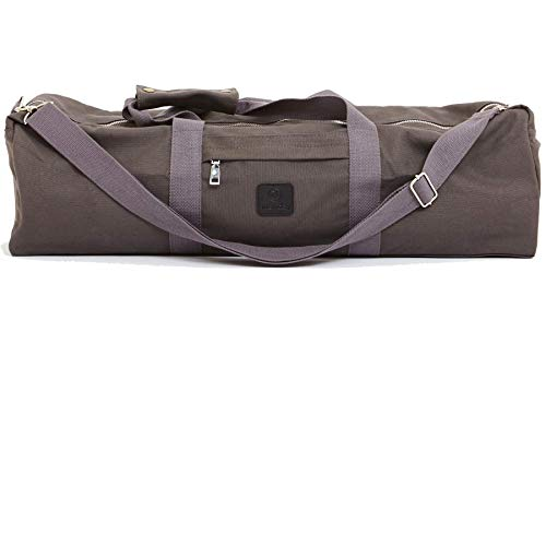 ANANDAY Yoga Mat Duffel Bag with Pockets and Zipper | Natural Cotton Canvas | Adjustable Shoulder Strap | Fits Most Mats | Eco-Friendly (Washed Black)