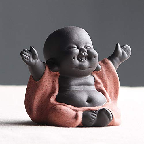 Ceramic Laughing Buddha Statue Maitreya Happy Buddha Statue Little Cute Baby Monk Figurine Buddha Figurines Home Decor Creative Crafts Dolls Ornaments Gift Delicate Ceramic Arts and Crafts (Red)