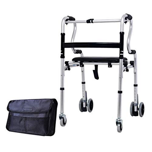 YWYW Bastidor para Caminar Caminante de rehabilitación de pie Polea para Ancianos con Asiento Andador de aleación de Aluminio Grueso Caminante para Caminar con Bolsa de Almacenamiento Muleta ah