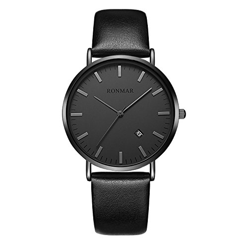 Men's Watches Waterproof Face Big Number Design Easy to Read Minimalist Quartz Wrist Watches (Black Leather)