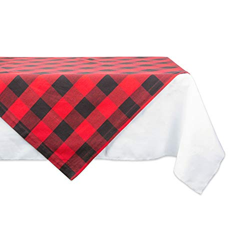 DII Buffalo Check Collection Classic Tabletop, Table Topper, 40x40, Red & Black