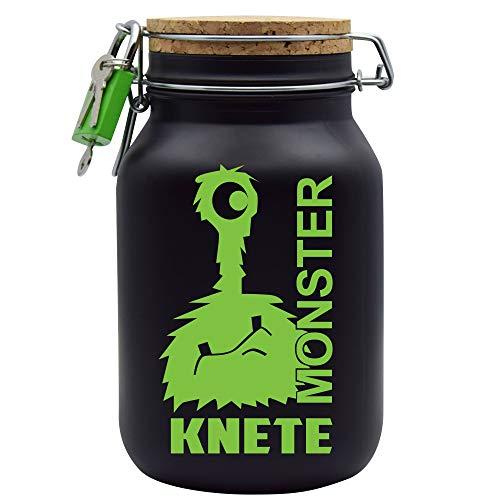 Spardose Monster Knete Grün Geld Geschenk Idee Schwarz XL