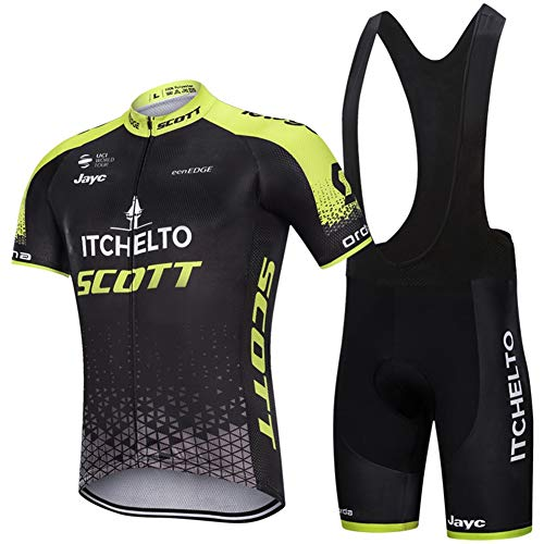 PGONE Summer ITCHELTO SCOTT Mens Cycling Jersey Short Sleeve PRO, Outdoor Bike Jersey Suit Racing Club Road Bicycle, Quick Dry Compression Cycle Combo Set (Size : XX-Large)