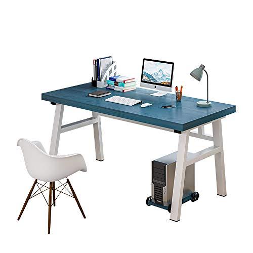 KaminHome - Mesa Escritorio despacho Steven Oficina Ordenador Trabajo Estudio Estilo nórdico escandinavo Moderno (Azul océano/Blanco, 100 cm x 60 cm x 76 cm)