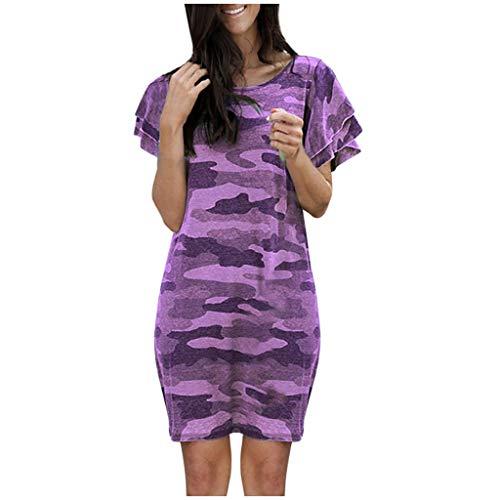 BHYDRY Frauen Kurzarm Kleid Camouflage Print Mode Kleid O-Neck Kleid