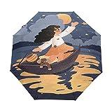 Barco De Dibujos Animados Belleza Chica Paraguas Plegable Hombre Automático Abrir y Cerrar Antiviento Protección UV Ligero Compacto Paraguas para Viajes Playa Mujeres Niños Niñas