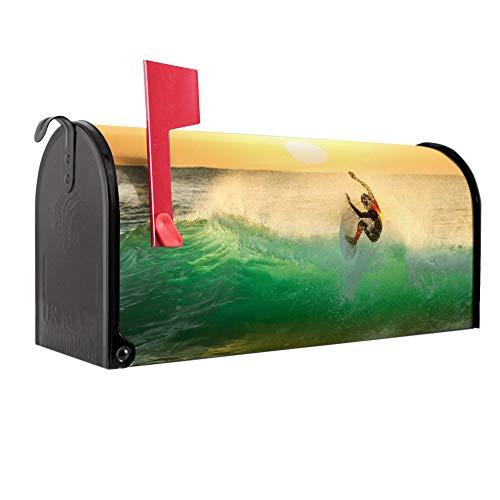 BANJADO US Mailbox | Amerikanischer Briefkasten 51x22x17cm | Letterbox Stahl schwarz | mit Motiv Surfen