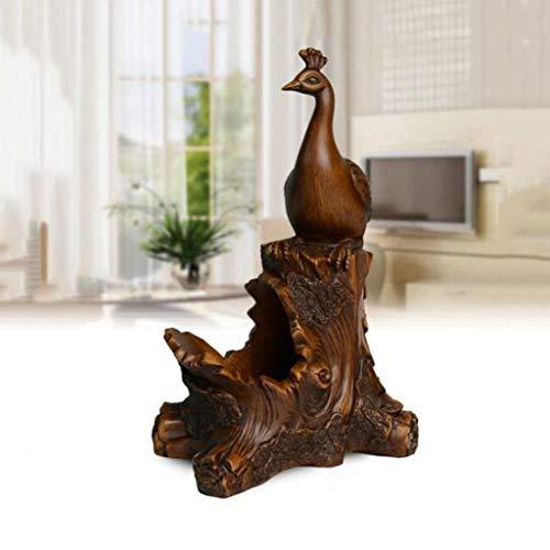 Escultura de escritorio Decoración de estante de vino Sala de estar en el hogar Gabinete de vino Decoraciones de escritorio de estante de vino creativo europeo de pavo real