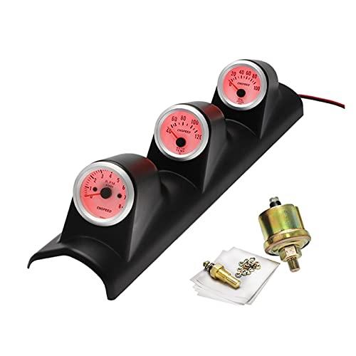 TIANXIANG canjiao Shop 12V Universal 3 en 1 52mm Auto tacómetro automático RPM + Calibrador de Temperatura de Agua + Medidor de presión de Prensa de Aceite (Color : Red Light)