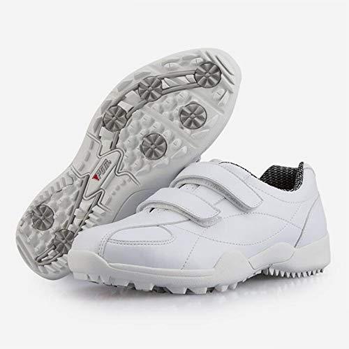XIANGYANG Damen Golfschuhe, Kinder Golfschuhe Damen Golfschuhe rutschfeste, Abriebfeste Wanderschuhe,Weiß,38