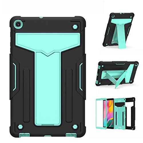 BZN For Samsung Galaxy Tab A8.4 (2020) T307 T-shaped Bracket Contrast Color Shockproof PC + Silicone Flat Protective Case (Color : Black+Mint Geen)