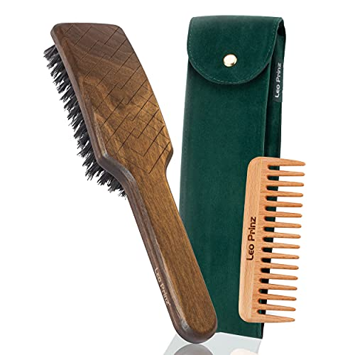 Leo Prinz Boar Bristle Hair Brush set for Men and Women, model Angel - for fine and normal hair -adds shine and volume- handmade in Germany from sustainable wood - wooden comb and travel bag included