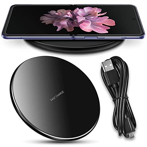 Nauci QI Wireless Ladegerät kompatibel für Samsung Galaxy Z Flip 3-2 / Fold 3-2 Ladestation Kabellos Charger Induktives Universal Schnellladegerät, Farben:Schwarz