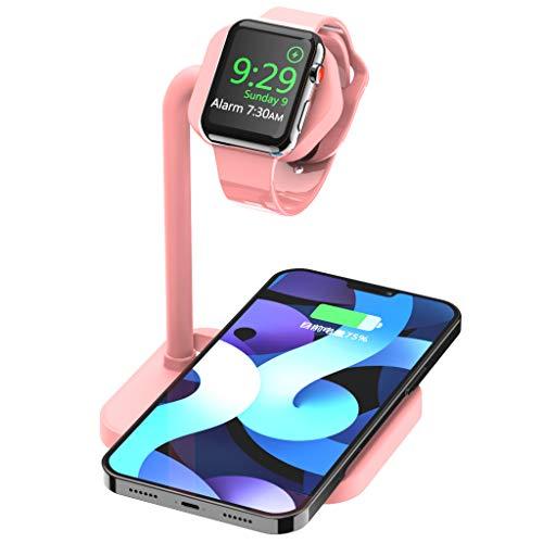 AOJUE 2 in 1 iPhone iwatch stazione di ricarica, caricabatterie wireless per iPhone 12/Mini/12 Pro Max/11/11pro/X/Xs/Xs MAX/8 Plus/Airpods, supporto di ricarica per iWatch SE/6/5/4/3/2 (rosa)