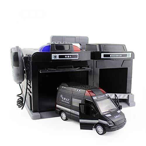 Maquetas de coches 1:32 Simulación De Estacionamiento Modelo Juguetes Educativos Para Niños Aleación De Policía Máquina De Llamada De Garaje Caja De Almacenamiento Regalo Para Niños