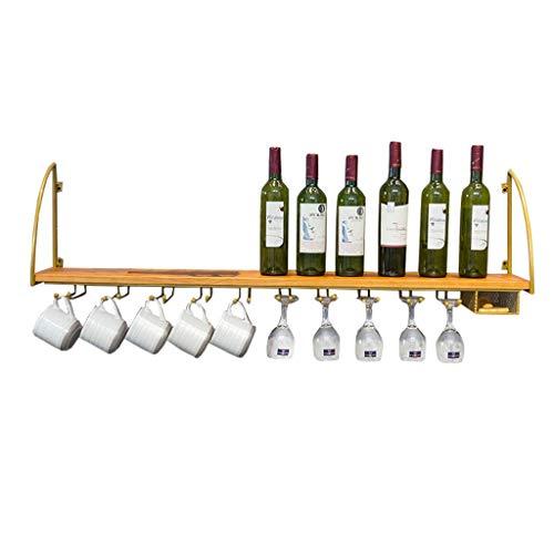 FFYN 100cm / 120cm, Wine Rack Loft Estante de Pared con Canasta de Almacenamiento Metal Hierro Montado en la Pared Colgante Botella de Vino/Soporte para Vasos Marco Soporte para Copas