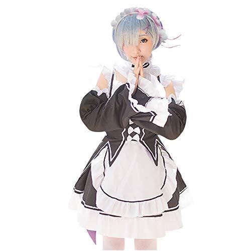 Jimlnz Cosplay Uniforme Traje de Mucama Delantal Lencería Sexy Mujer Sirviente Caliente Vestido Juego Roles Falda Maid Disfraz Animación Show Japonés Ropa(1PC Dress + 2PC Sleeve +1PC Apron +1PC Bow)
