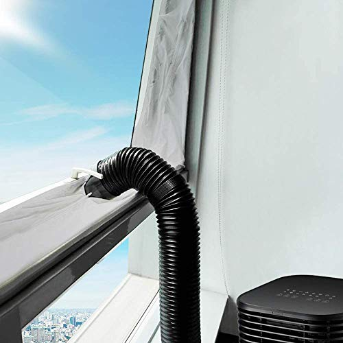 Vegena Fensterabdichtung Für Mobile Klimageräte, Klimaanlage Abluft-Wäschetrockner Trockner Bautrockner Ablufttrockner Luftentfeuchter Hot Air Stop Für Fenster Kippfenster Dachfenster 400cm Silber