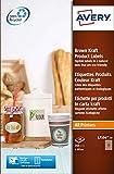 Avery L7106-20 Etichette per Prodotti in Carta Kraft, Effetto Cartone, Rotonde, Diametro 60, 20 ff, Marrone, 240 Pezzi