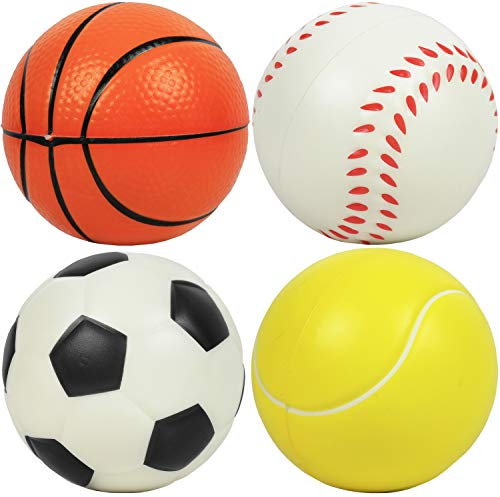 Kiddie Play Set of 4 Soft Balls for Toddlers 4' Soccer Ball for Kids