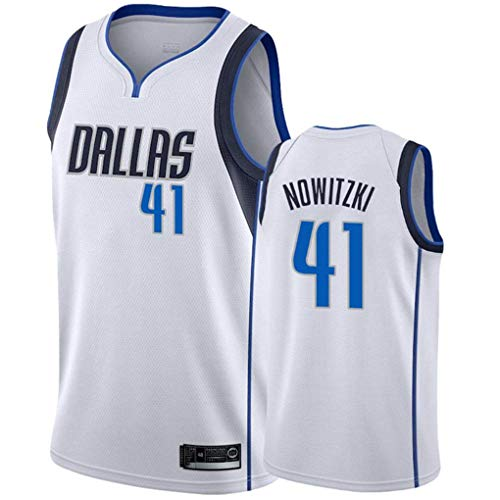 Miyapy NBA Jersey Dallas Mavericks #41 Dirk Nowitzki Sommer Herren Trikot Basketball Uniform Stickerei Tops Basketball Anzug Trikots Schwarzgold-Trikot