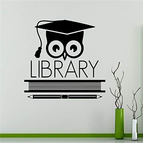AKmene Libro Biblioteca búho Pared Vinilo calcomanía educación Escuela Pared pegatina48X50cm